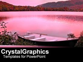 PowerPoint template displaying pink infused backdrop of lake in the background.