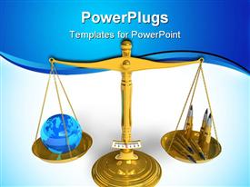PowerPoint template displaying blue Earth globe and bullet cartridges on golden scales