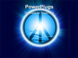 Peace symbol on a light blue background powerpoint theme