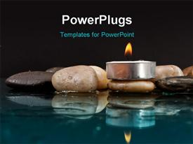 PowerPoint template displaying peaceful setting with Rocks and Candle on Water with black color