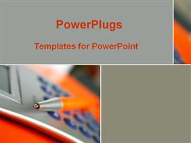 PowerPoint template displaying pen on calculator in the background.