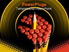 Cluster of pencils template for powerpoint