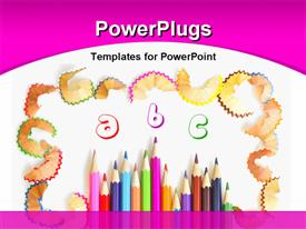 PowerPoint template displaying kids learning using colored pencils and alphabets with white color