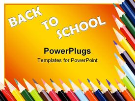 Colored pencils form a frame over a white background. Copy space powerpoint template