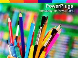 PowerPoint template displaying cup holding several paint brushes, pens, color pencils and markers