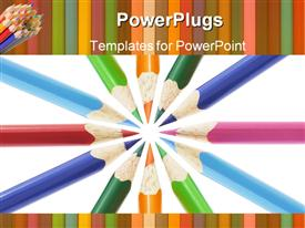 Color pencils arranged and powerpoint design layout