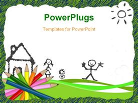 PowerPoint template displaying colored pencils and drawing depicting kids learning with white color