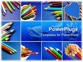 PowerPoint template displaying colorful pencils on white ( clean ) background