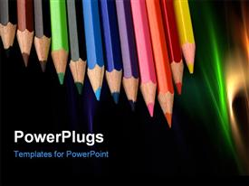 PowerPoint template displaying colored pencils in a row with nice abstract colorful shades