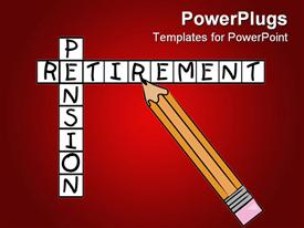 PowerPoint template displaying crosswords with pencil filling in the words pension and retirement on a red background