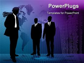 Business background with three men meeting on an abstract background powerpoint design layout