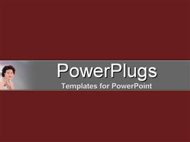 PowerPoint template displaying small depiction of woman with head on hand, dark red background