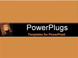 PowerPoint template displaying full face shot of blond model staring upwards in the background.