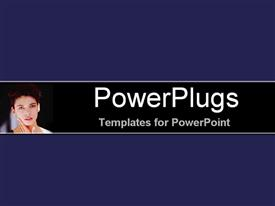 PowerPoint template displaying gentle serious female face gazing at camera