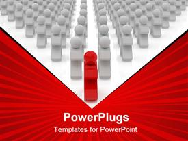 PowerPoint template displaying 3D graphics of lots of white colored characters with a leading red one