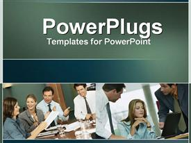 PowerPoint template displaying a number of professionals during a meeting with place for text