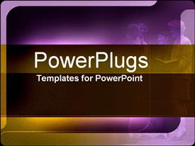 PowerPoint template displaying purple background with group discussing and taking notes