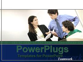 PowerPoint template displaying three professionals with white background and place for text