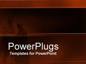 PowerPoint template displaying two professionals with brownish background and place for text