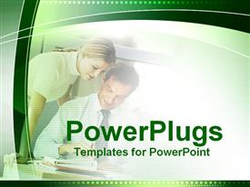 PowerPoint template displaying an officer with his personal secretary with white background