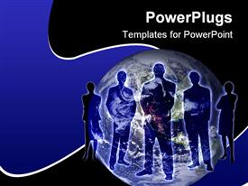 PowerPoint template displaying business persons stand across globe with blue and black background