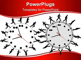 PowerPoint template displaying productivity metaphor with business people running and walking on clocks