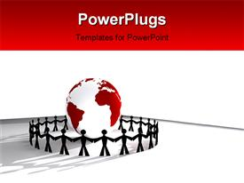 PowerPoint template displaying people holding hands around the world globe global collaboration on red background