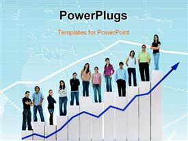 PowerPoint template displaying concept of growth and success using combo chart and group of people with blue color