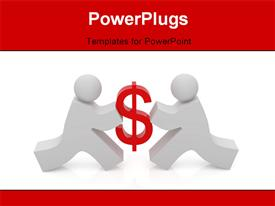 PowerPoint template displaying humanoids competing for money with white color