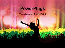 PowerPoint template displaying dancing silhouettes with colored lights