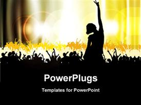 PowerPoint template displaying dancing silhouettes with bright yellow light