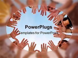 PowerPoint template displaying different people putting their hands together to show solidarity with each other