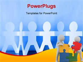 PowerPoint template displaying concept of team work using humanoids and puzzle with people