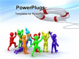 PowerPoint template displaying beautiful 3D depiction of group of people and lifebuoy