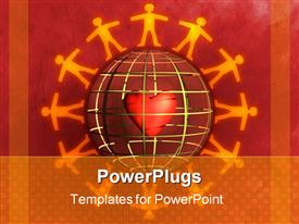 People silhouettes holding hands around a sphere template for powerpoint
