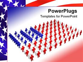 PowerPoint template displaying flag of America depicted with colorful people arranged and flag in background