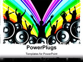 PowerPoint template displaying silhouettes of people dancing with speakers, rainbow stripes, party, celebration, pride