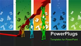 PowerPoint template displaying colorful people pushing up the arrow together with numbers