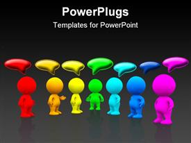 PowerPoint template displaying seven multi colored people with talk or think bubbles