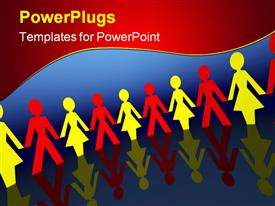 PowerPoint template displaying lots of multi colored paper cut people holding hands