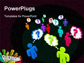 PowerPoint template displaying colorful people stand in a crowd thinking of questions with black color