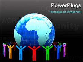 PowerPoint template displaying 3D colorful people around earth globe with keywords and black color