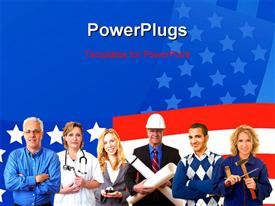 PowerPoint template displaying group of american business people with different occupations with   american flag