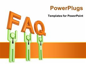 PowerPoint template displaying frequently asked questions concept using humanoids with orange color