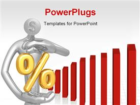 PowerPoint template displaying presentation of a 3D figure securing percentage symbol with red bars
