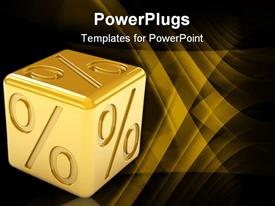 PowerPoint template displaying golden percentage dice on a white background. Part of a series in the background.