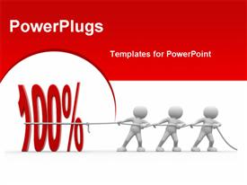 PowerPoint template displaying 3D people pulling number 100 percent to success with red color
