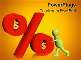 PowerPoint template displaying conceptual 3D depiction - percent in dollars in the background.