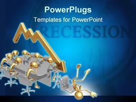 PowerPoint template displaying recession theme with sad gold people at board room table, gold downward trend arrow