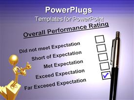 Overall Performance Rating Form checked the Far exceed expectation powerpoint design layout